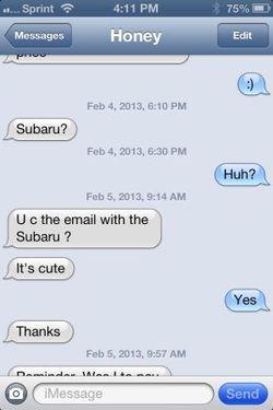 Subaru Texting